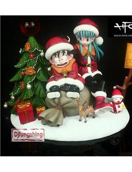 Djfungshing Dragonball Christmas Kid Goku & Bulma Resin Statue
